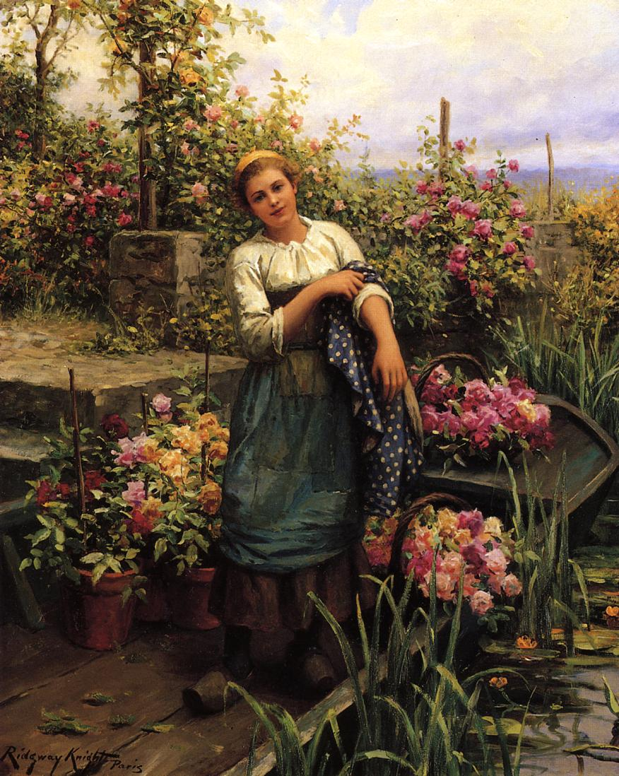 꽃과 여인 (Ladies with Flowers) - Daniel Ridgway Knight