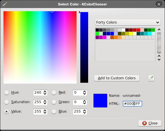 KColorChooser - 색상선택기