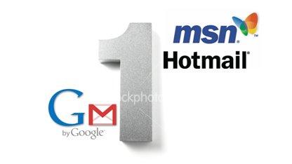[그림1] 솟구치는 gmail, 고꾸라치는 MS hotmail
