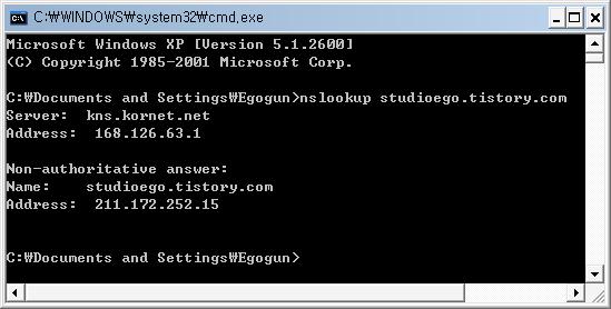 Tistory Blog의 DNS주소는 211.172.252.15입니다.
